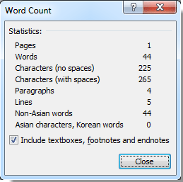 number of characters in a word document