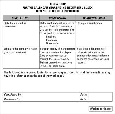 cpa quality control document sample in australia