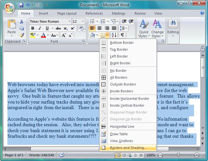 adding a border to microsoft word document