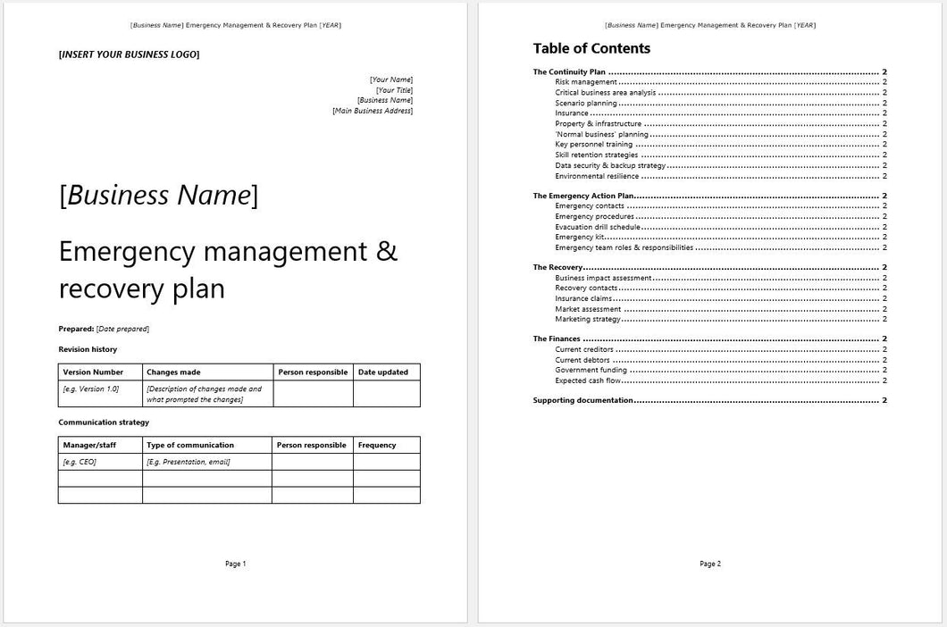 disaster recovery plan document template