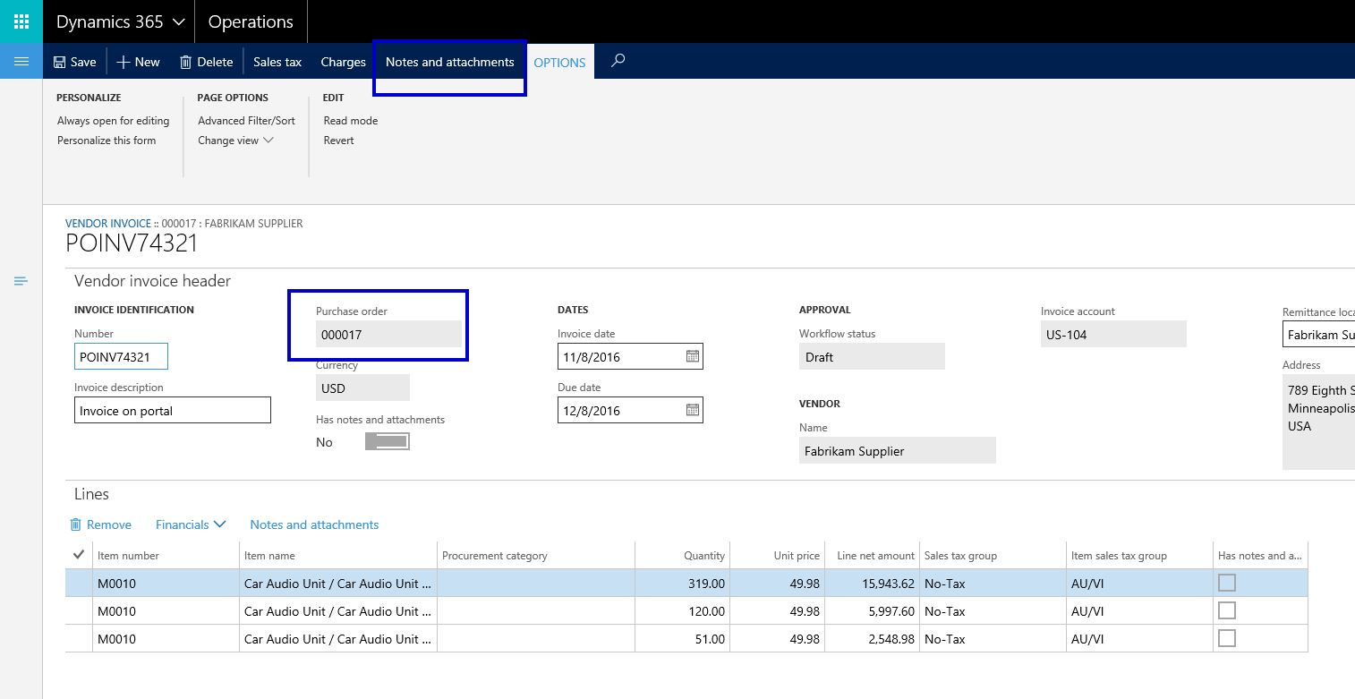 dynamics 365 operations document management