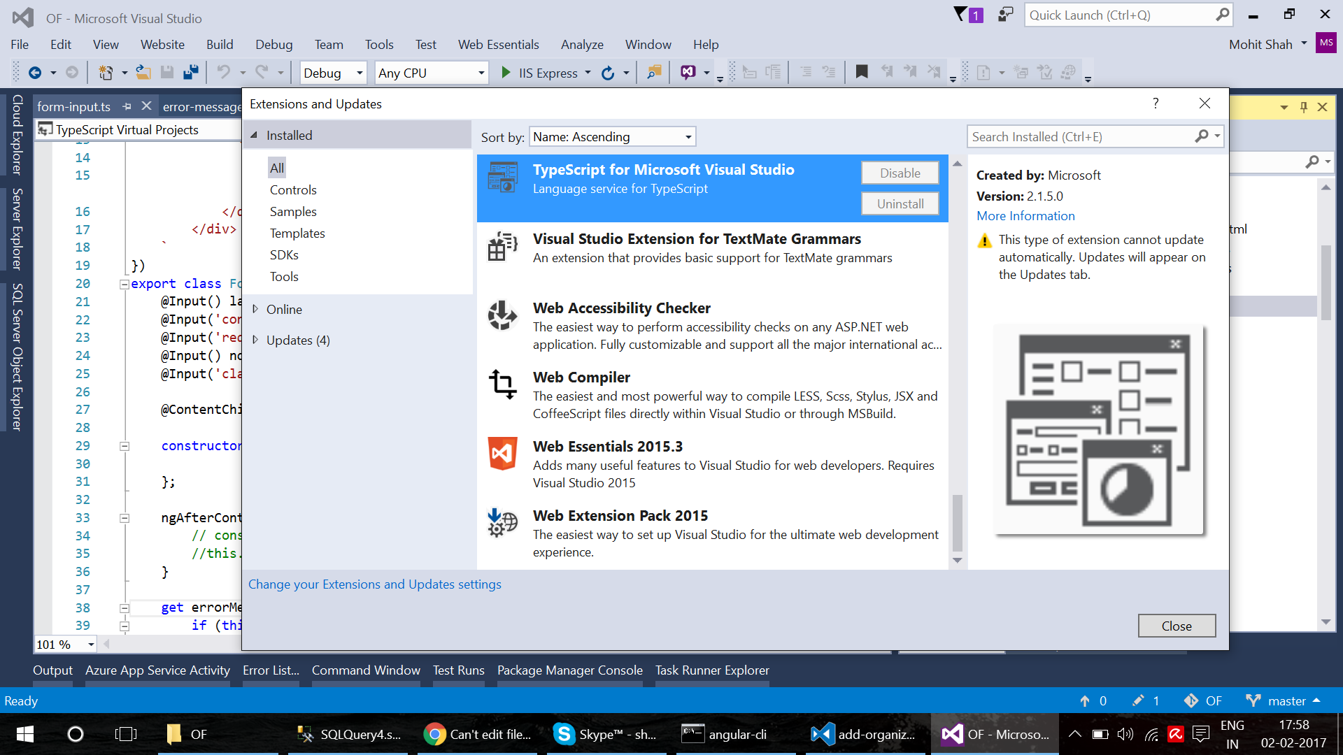 document ouline in visual studio 2015