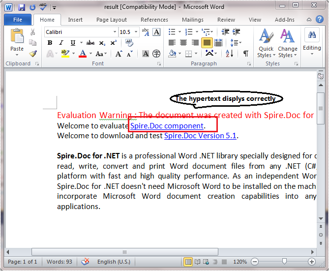 hyperlink in word document to a section of the document