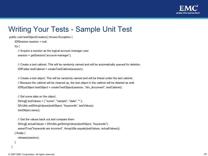 how to document unit testing