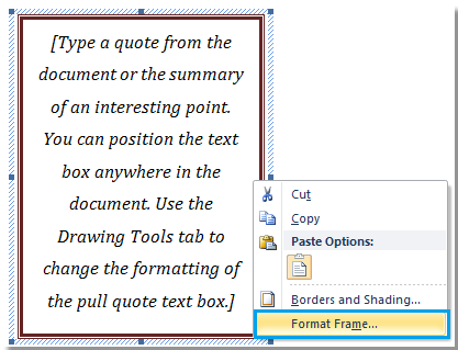 insert a frame in word document