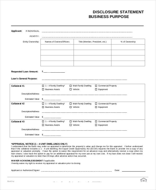 formal document format statement of intent
