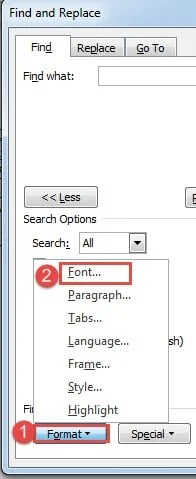 find fonts in word document