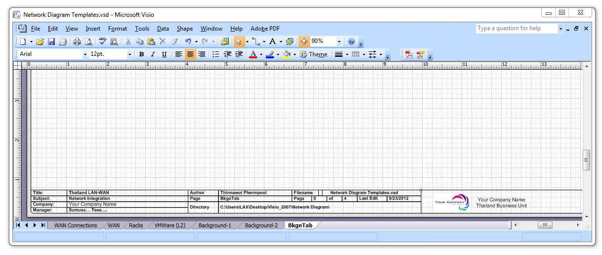 network documentation template visio
