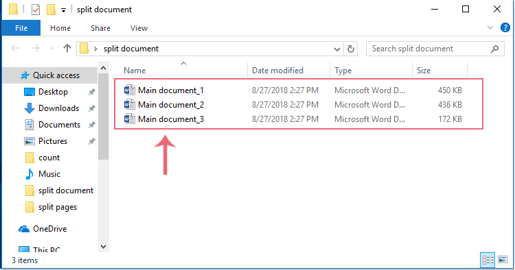 how to split word document pages