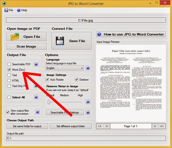convert the language of a word document