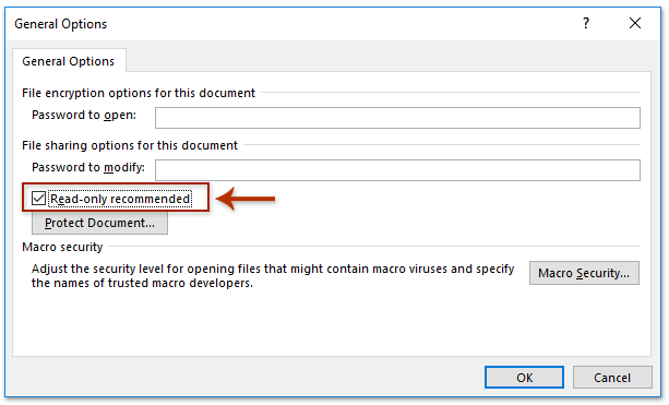 word document saving in read only form