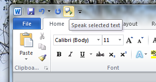 microsoft narrator to read word document