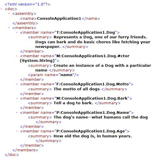 c xml documentation example