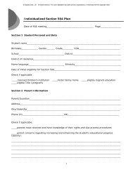 504 plan medical documentation