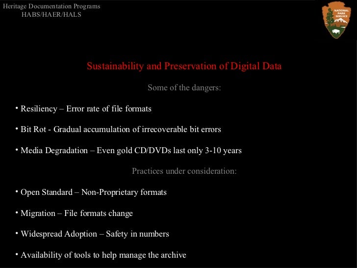 formats documentation and preservation