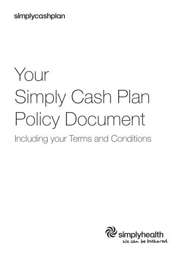 simply health cash plan policy document