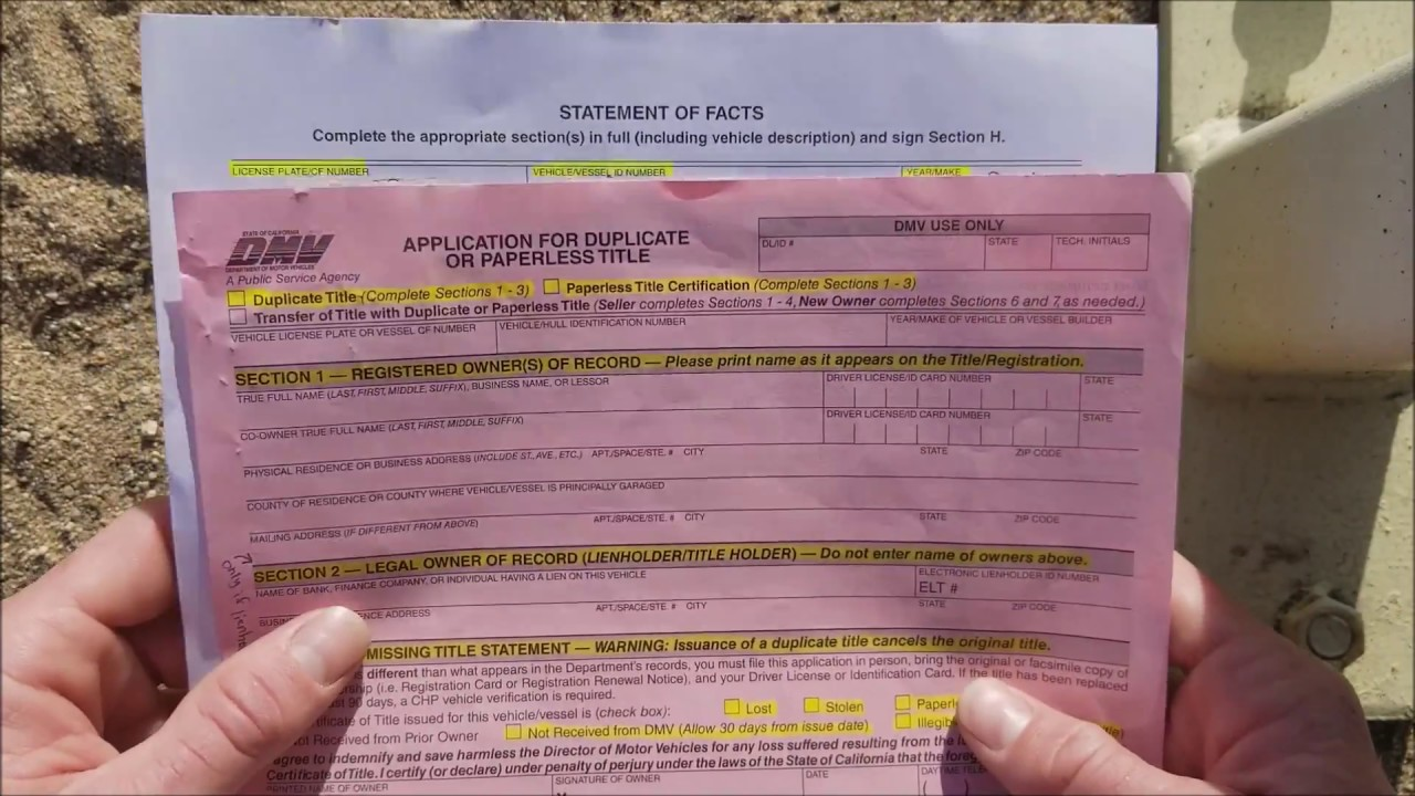 how to replace lost vehicle registration document
