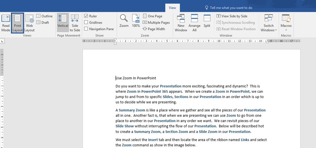 change word document to print layout