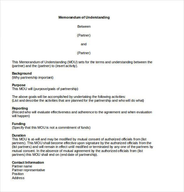 sample of a memorandum of understanding document