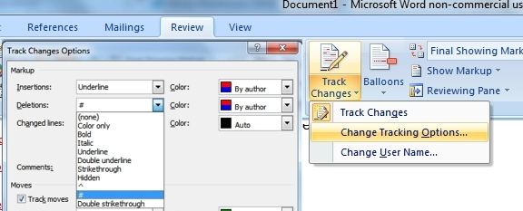 my word document opens with track changes