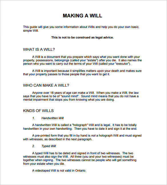 example of a will document