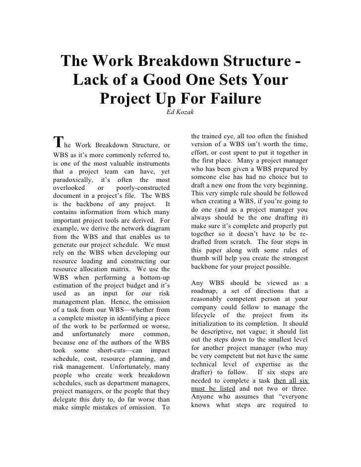 document a work breakdown structure
