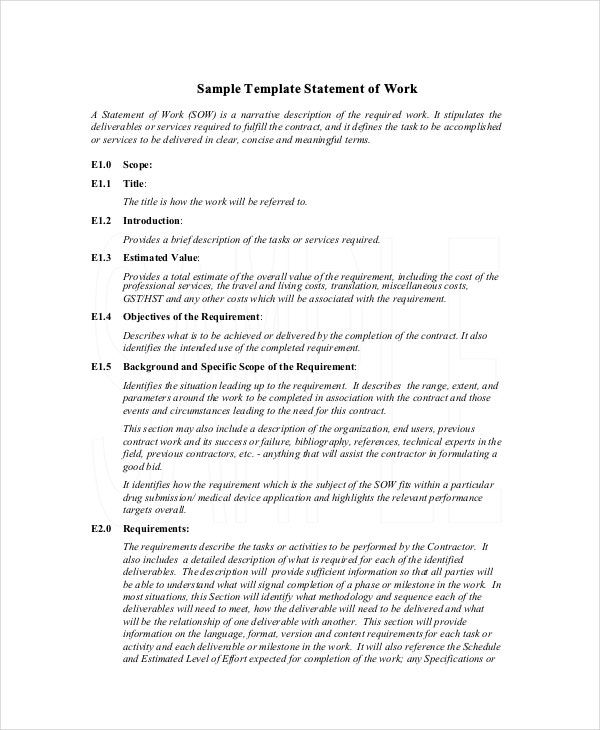 what is a statement of work document
