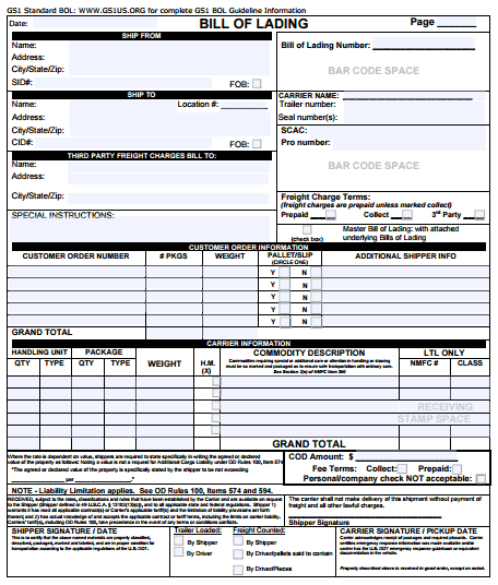 example of bill of landing document