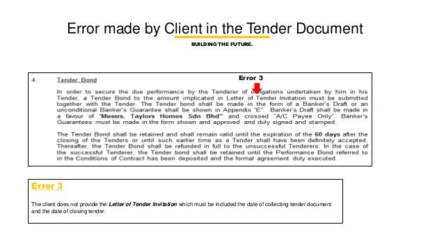 what should be included in a tender document to builder