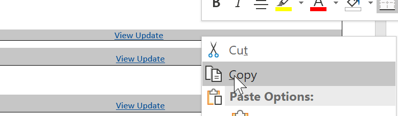 hyperlinks not working in word document