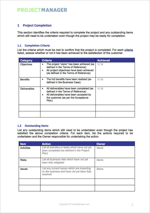 software project handover document template