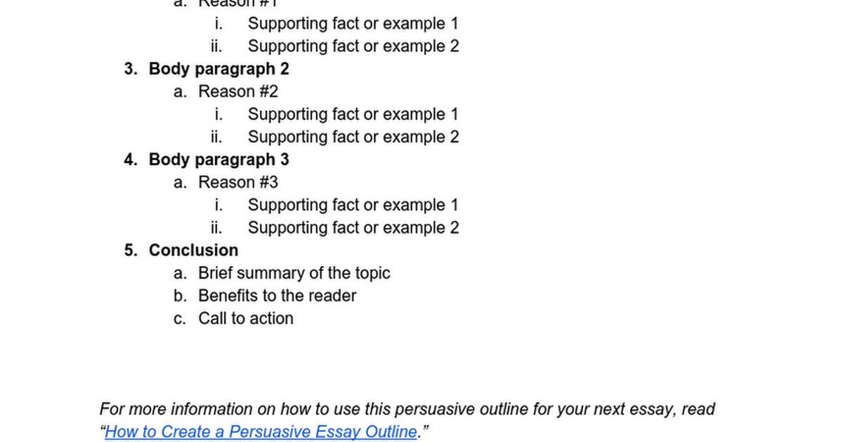 how to make a document outline on google docs