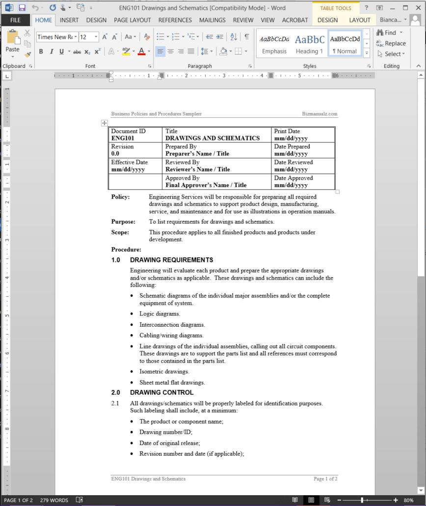 document control procedures for engineering