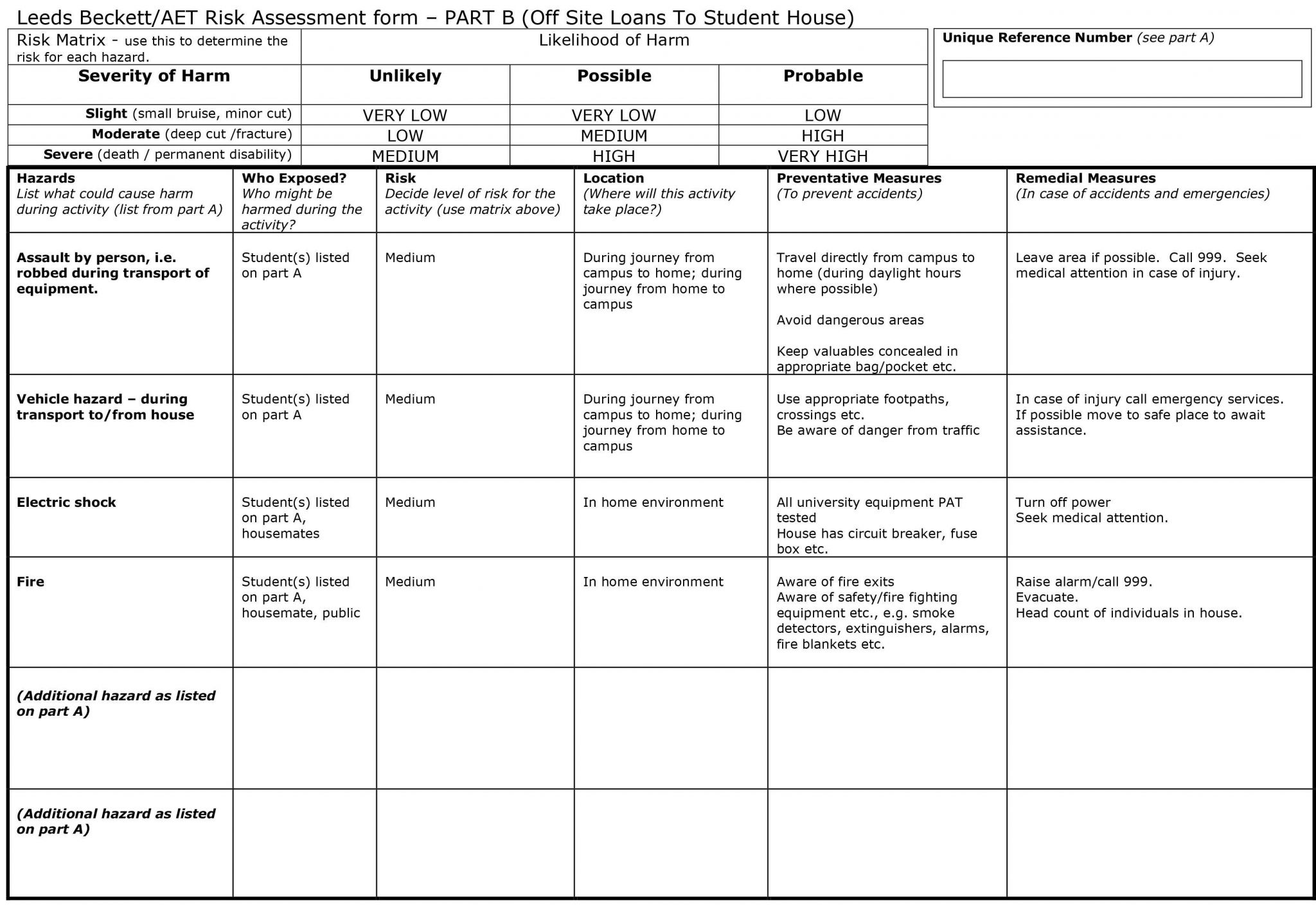 risk assessment consultation example document