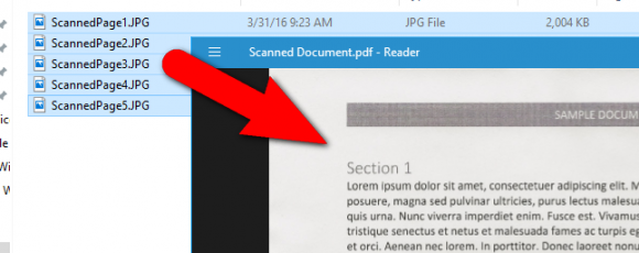 how to combine scanned jpegs into one document