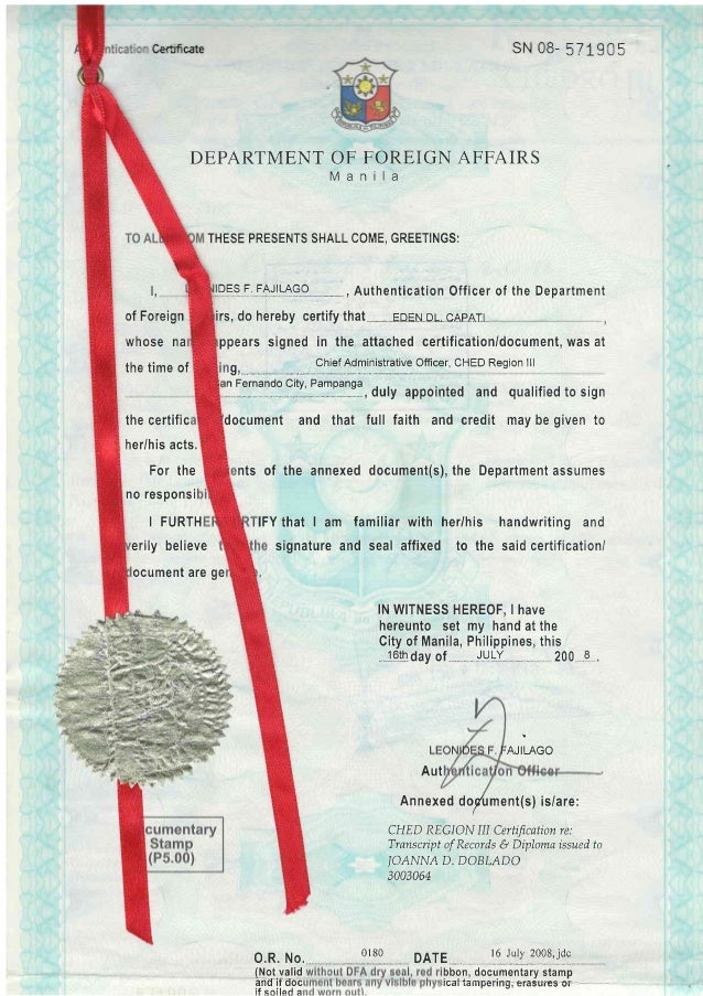 authendication of document in china