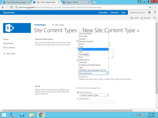 document content type sharepoint 2013