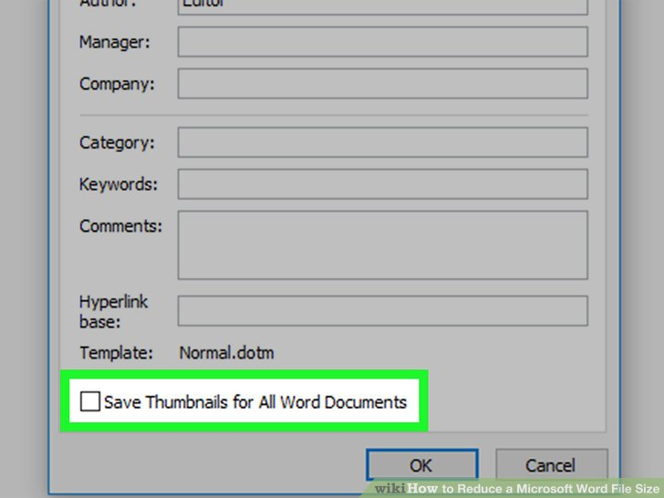how to reduce size of word document