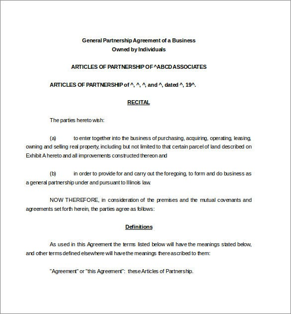 partnership agreement template word document