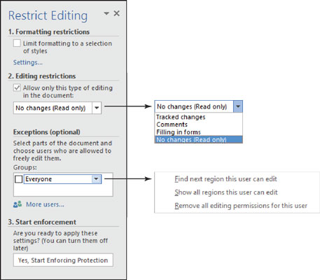 how to restrict editing on word document