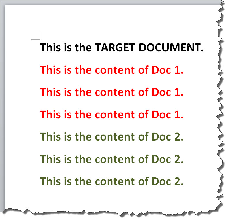 inserting documents into master document inbetween subdocuments