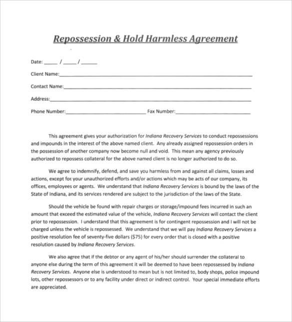 hold harmless agreement word document