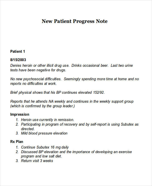 progress note documentation examples in aged care