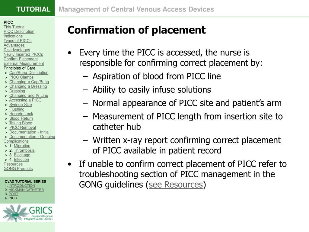 picc line measurement documentation