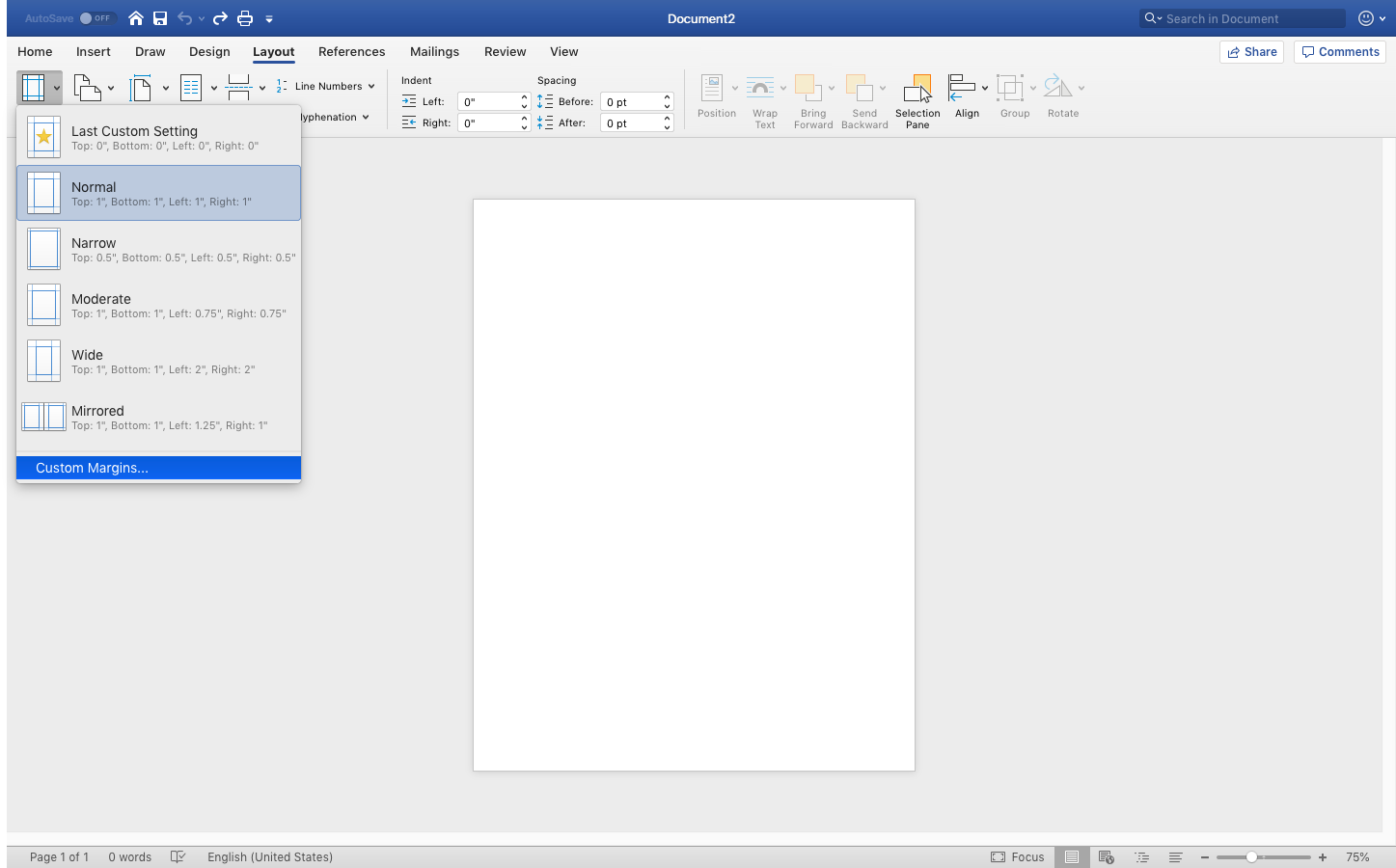 how to change the margins on word document mac