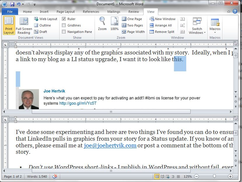 how to split word document vertically