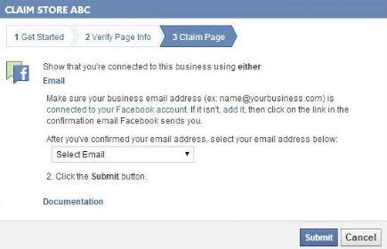 claim facebook page documentation