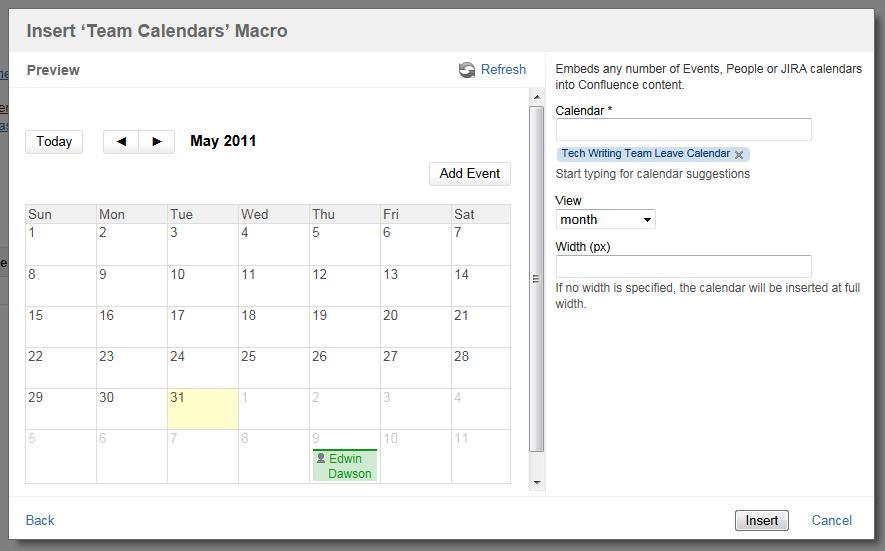 confluence team calendar documentation