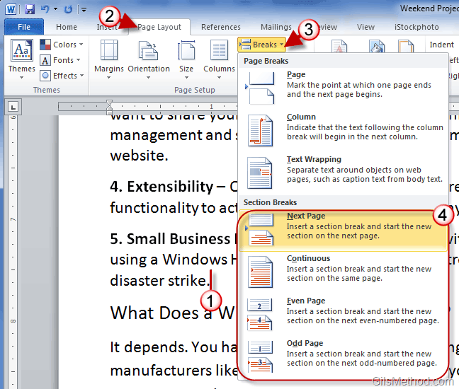 create index in word document 2010