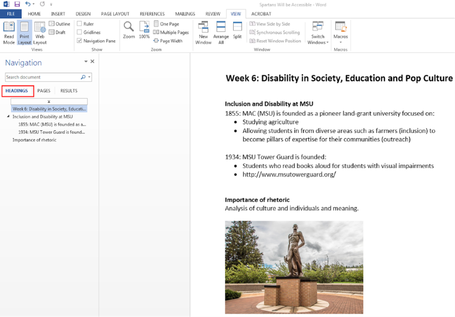 creating new document with headings and table of content
